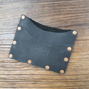Black leather & brass card wallet - The Emporium - Buy Handmade - the home of handmade gifts in Northants