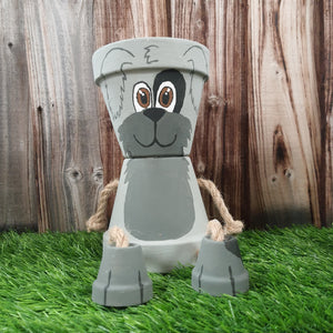 Plant pot character - grey dog