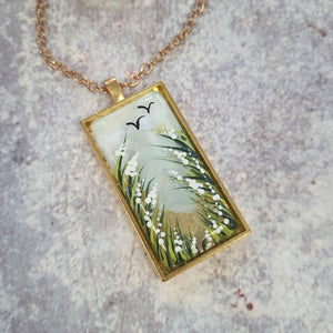 Painted country scene necklace