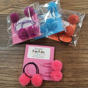 Pom pom hair accessory set - The Emporium - Buy Handmade - the home of handmade gifts in Northants
