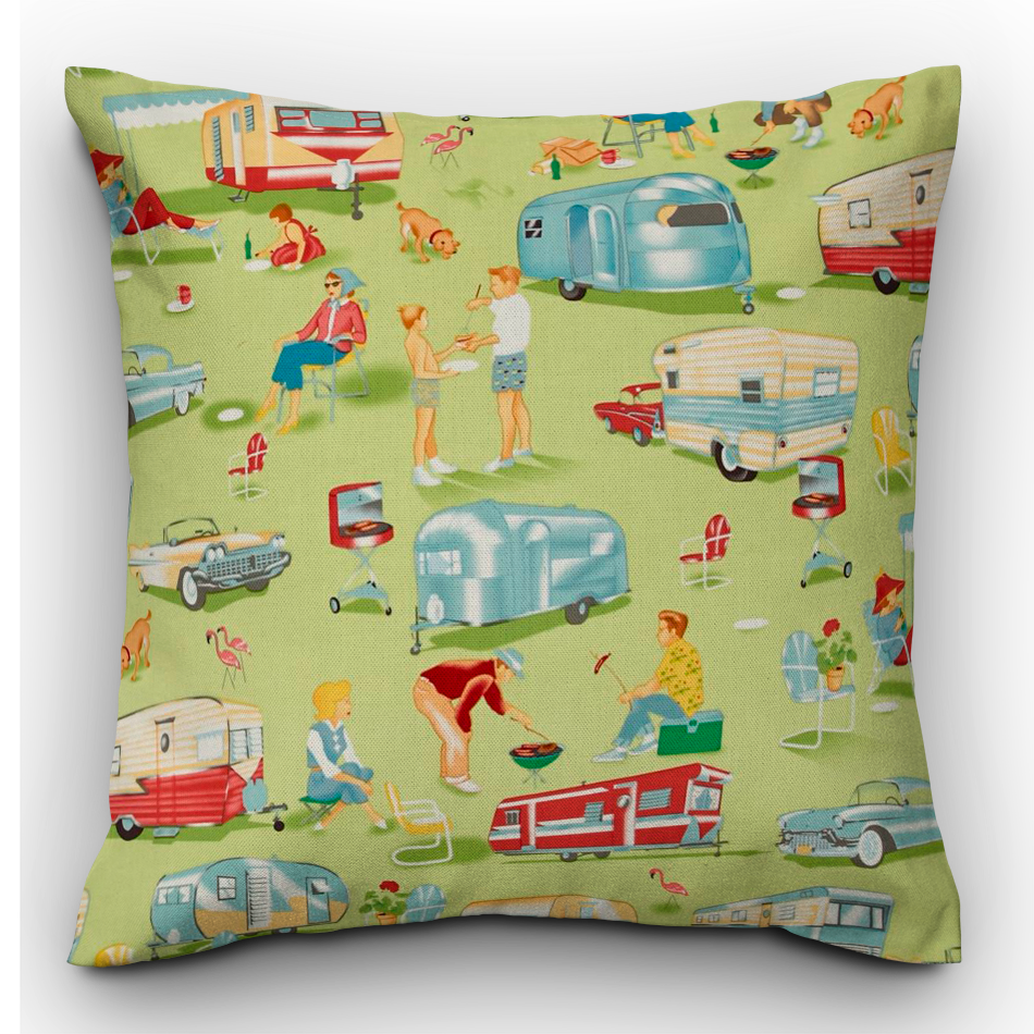 Michael Miller Camping Print Cushion - The Emporium - Buy Handmade - the home of handmade gifts in Northants
