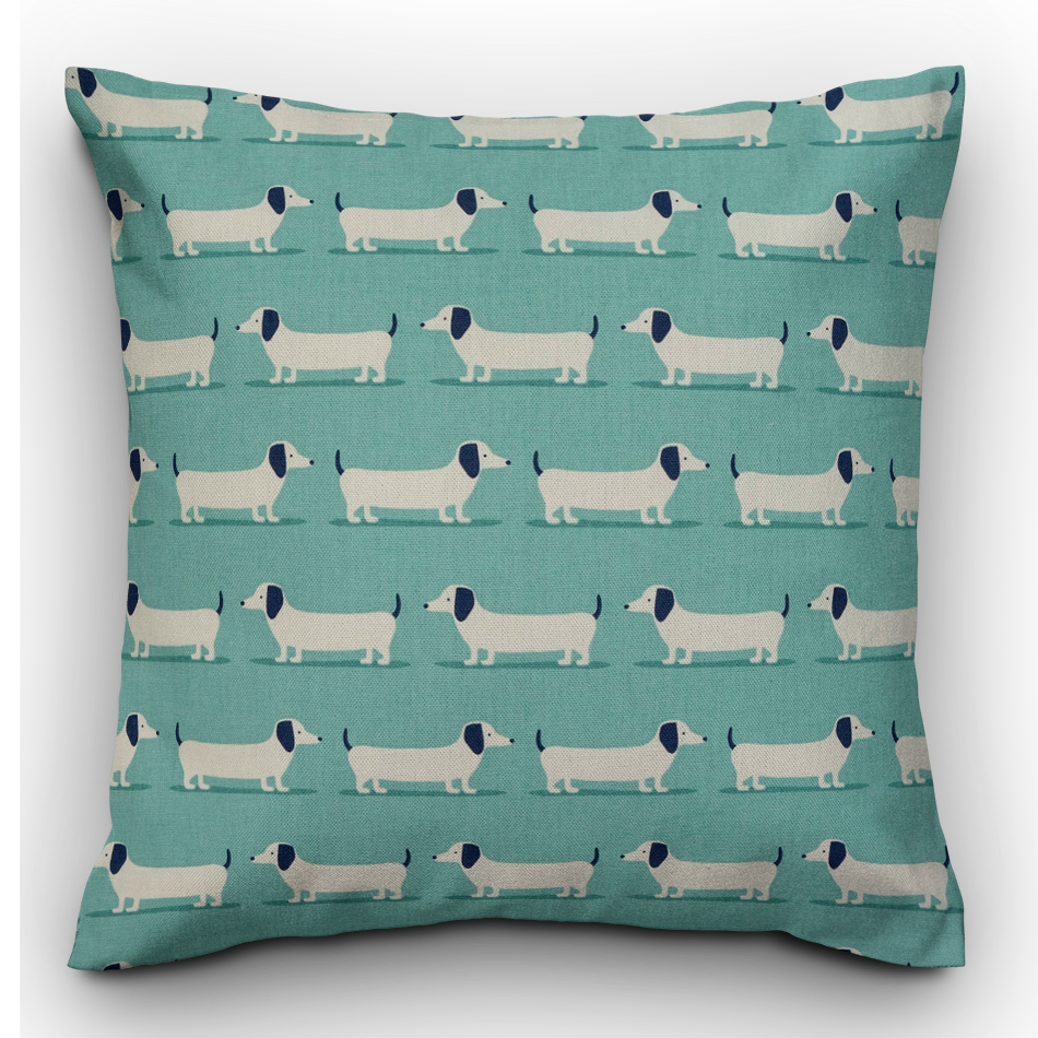 Sausage Dog Cushion, Duck Egg blue - The Emporium - Buy Handmade - the home of handmade gifts in Northants
