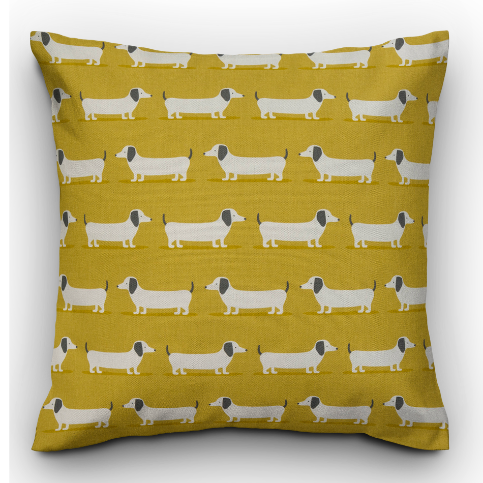 Sausage Dog Cushion, Ochre - The Emporium - Buy Handmade - the home of handmade gifts in Northants