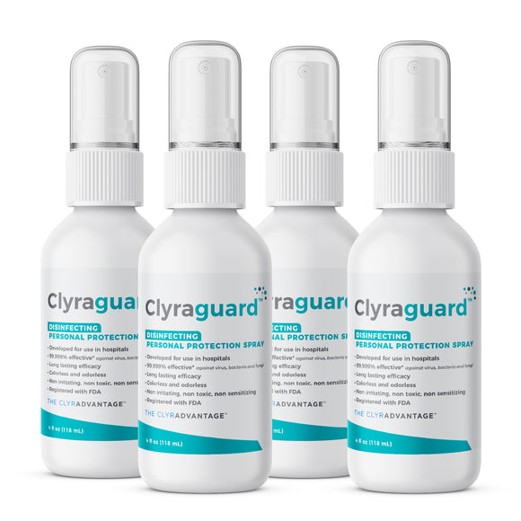 <strong>4 Pack - 4oz bottle </strong> | Clyraguard Hospital-grade, FDA-registered, PPE Disinfectant Spray