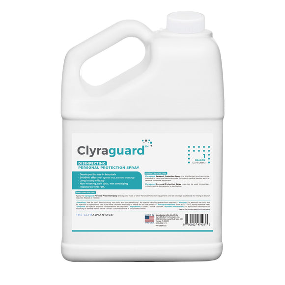Clyraguard Hospital-grade, FDA-registered, PPE Disinfectant Spray 1-gallon refiller