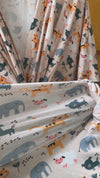 Cute animals printed Maternity robe and swaddle set boy. Mommy and me robe and swaddle set boy. In organic stretch cotton. Matching t-shirts available.