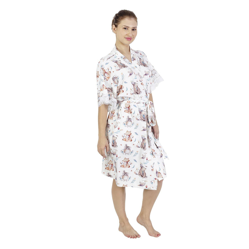 Comfy Mommy Bear Fox Organic Stretch Cotton Maternity Robe | Maternity Gowns - comfymommyshop.in