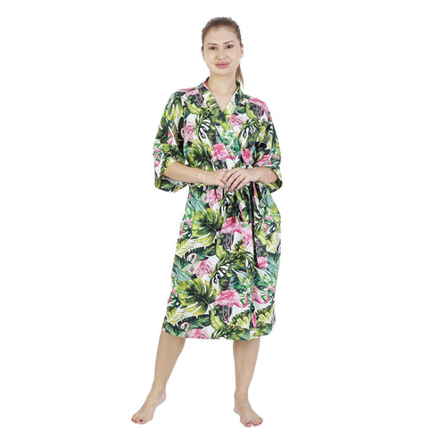 Comfy Mommy Flamingo Palm Organic Stretch Cotton Maternity Robe | Maternity Gowns - comfymommyshop.in