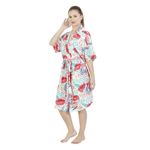 Comfy Mommy Poppy Drops Organic Stretch Cotton Maternity Robe | Maternity Gowns - comfymommyshop.in