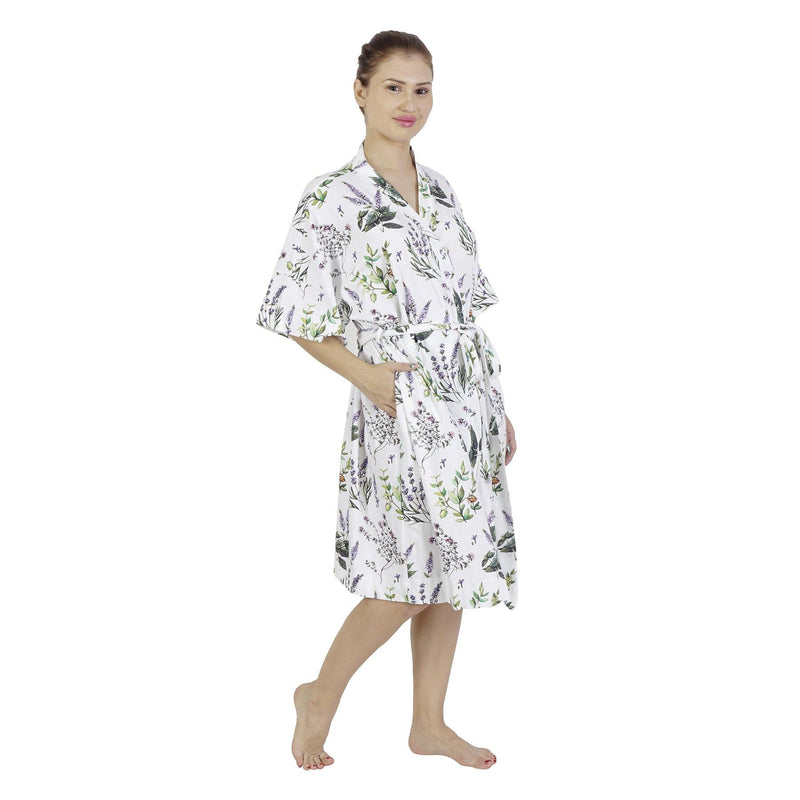 Comfy Mommy Botanical Organic Stretch Cotton Maternity Robe | Maternity Gowns - comfymommyshop.in