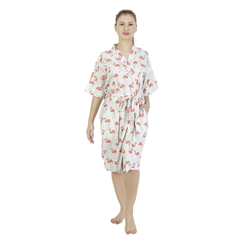 Comfy Mommy Flamingo Chevron Organic Stretch Cotton Maternity Robe | Maternity Gowns - comfymommyshop.in