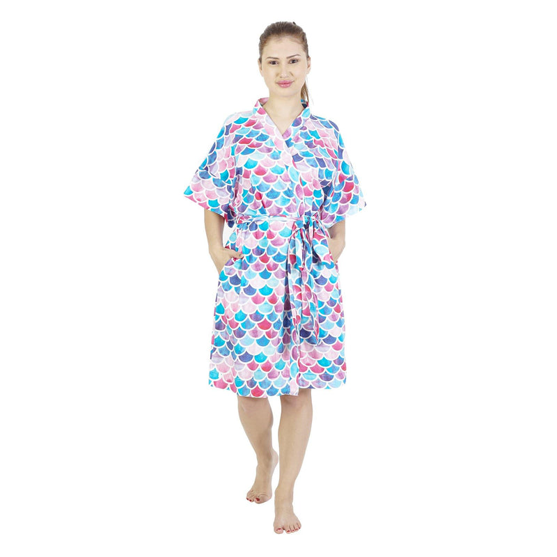Comfy Mommy Fish Scales Organic Stretch Cotton Maternity Robe | Maternity Gowns - comfymommyshop.in