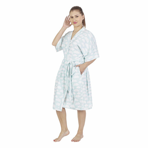 Comfy Mommy Cloud Organic Stretch Cotton Maternity Robe | Maternity Gowns - comfymommyshop.in