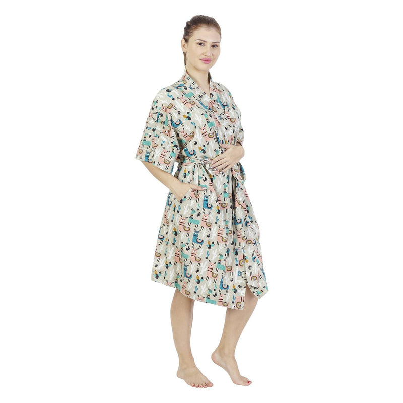 Comfy Mommy Llaama Organic Stretch Cotton Maternity Robe | Maternity Gowns - comfymommyshop.in