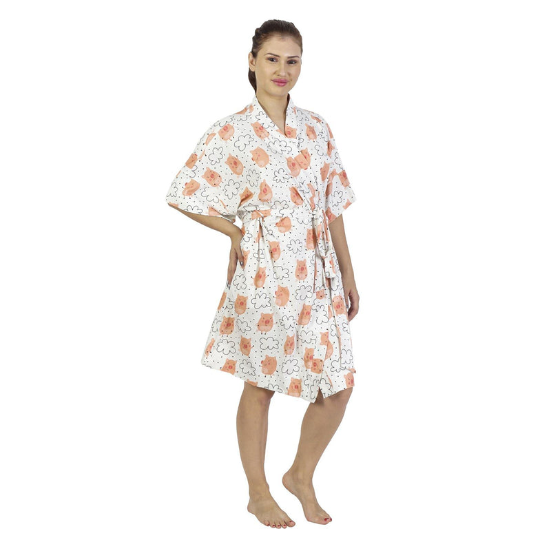 Comfy Mommy Pig Organic Stretch Cotton Maternity Robe | Maternity Gowns - comfymommyshop.in