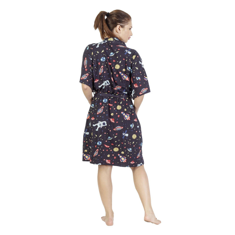 Comfy Mommy outer Space Organic Stretch Cotton Maternity Robe | Maternity Gowns - comfymommyshop.in