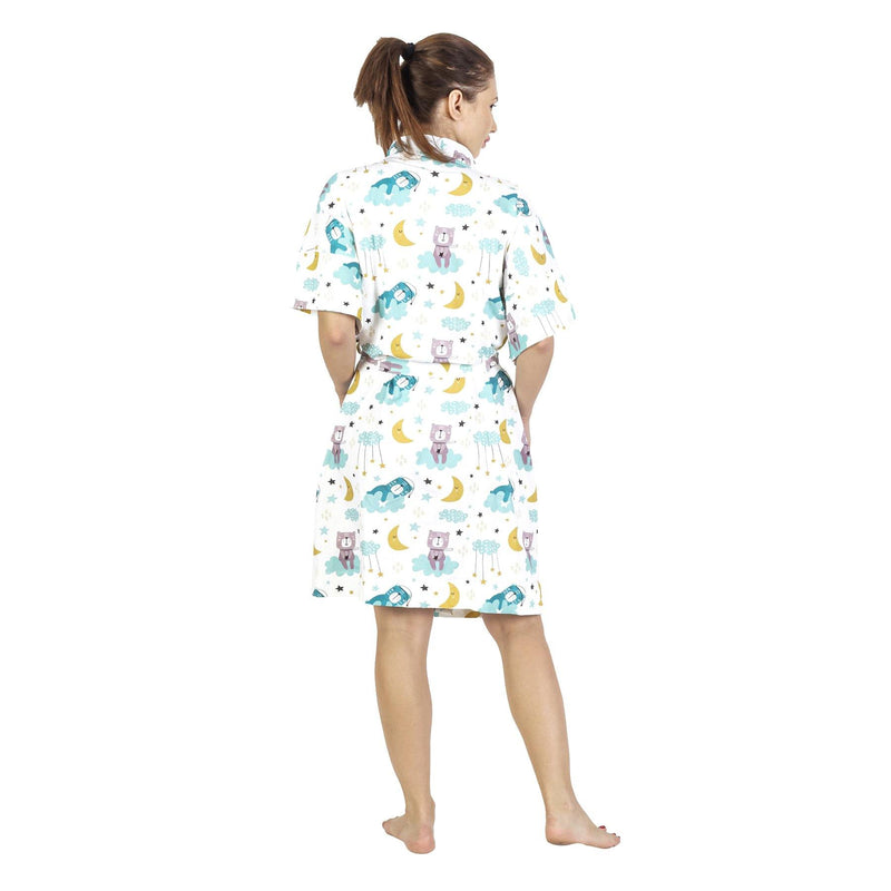 Comfy Mommy Sleepy Bear Organic Stretch Cotton Maternity Robe | Maternity Gowns - comfymommyshop.in