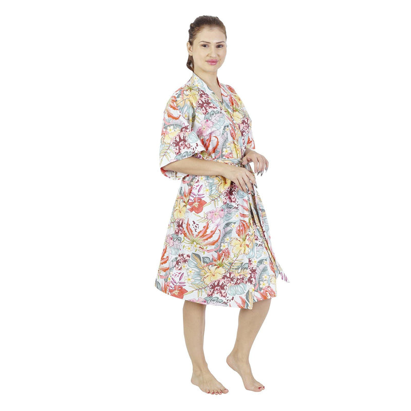 Comfy Mommy Hibicus Organic Stretch Cotton Maternity Robe | Maternity Gowns - comfymommyshop.in
