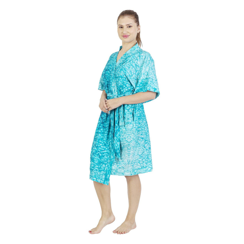 Comfy Mommy Blue Mozaic Organic Stretch Cotton Maternity Robe | Maternity Gowns - comfymommyshop.in