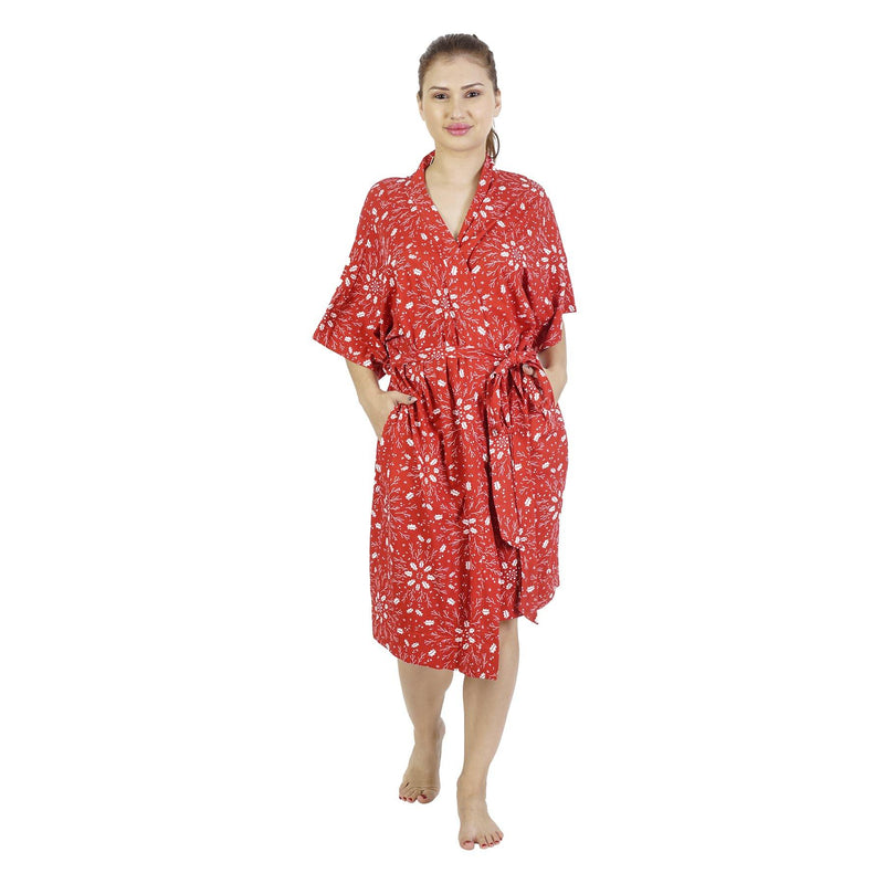 Comfy Mommy Red Christmas Organic Stretch Cotton Maternity Robe with Matching Baby Swaddle and Hat for 0-3 Months Old Baby - comfymommyshop.in