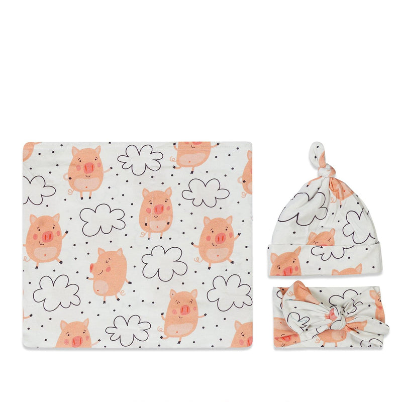 Pig Swaddle Set For Newborn Baby Boy And Girl | Swaddle Set For New Born Baby - comfymommyshop.in