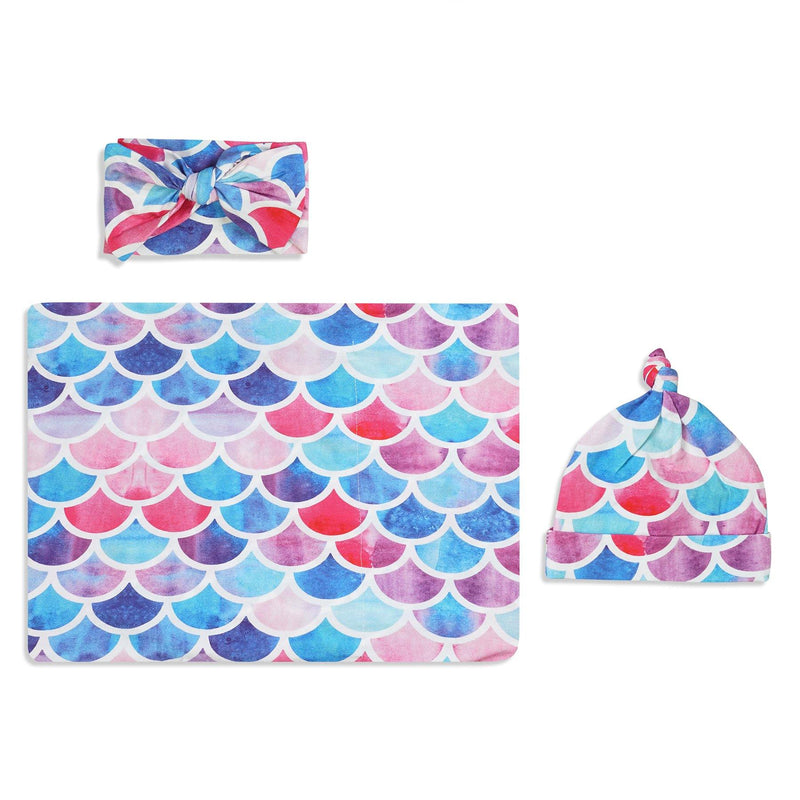 Fish Scales Swaddle Set For Newborn Baby Boy And Girl | Swaddle Set For New Born Baby - comfymommyshop.in