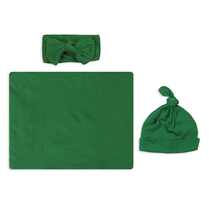 Solid Green Swaddle Set For Newborn Baby Boy And Girl | Swaddle Set For New Born Baby - comfymommyshop.in