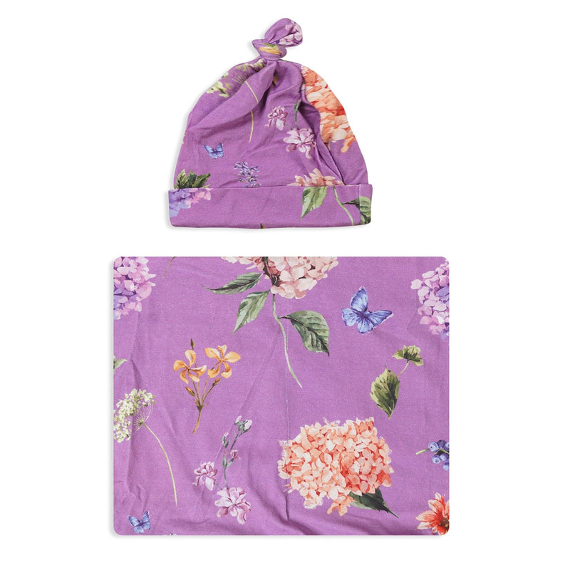 Purple Peony Swaddle Set For Newborn Baby Boy And Girl | Swaddle Set For New Born Baby - comfymommyshop.in