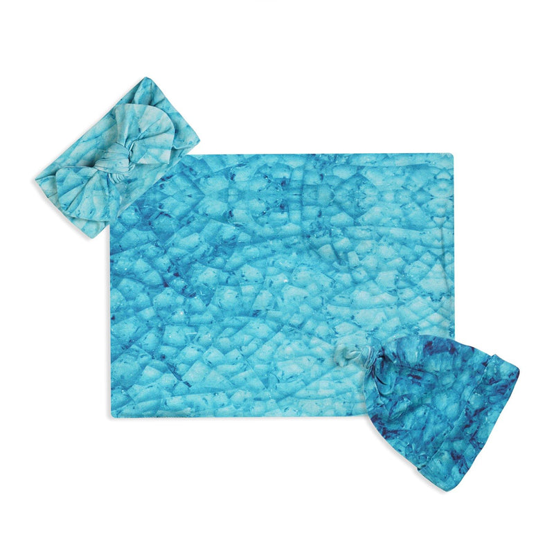Blue Mozaic Swaddle Set For Newborn Baby Boy And Girl | Swaddle Set For New Born Baby - comfymommyshop.in