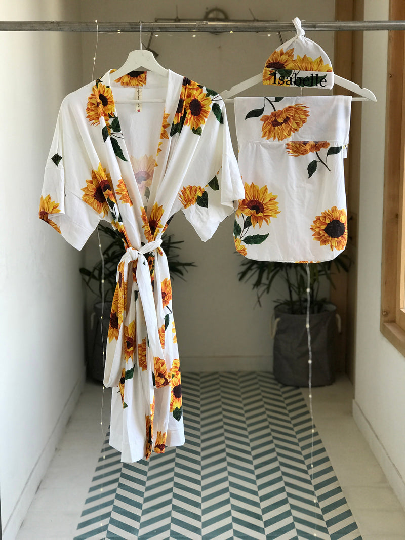 Old Sun Flower Maternity robe and swaddle set boy. Mommy and me robe and swaddle set boy. In organic stretch cotton. Matching t-shirts available. - comfymommyshop.in