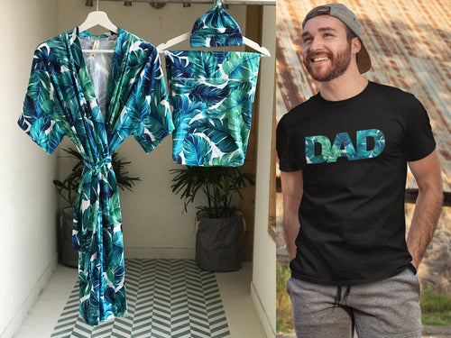 Maternity robe and swaddle set in a tropical print and Organic Stretch Cotton. Matching dad t-shirt is also included. - comfymommyshop.in