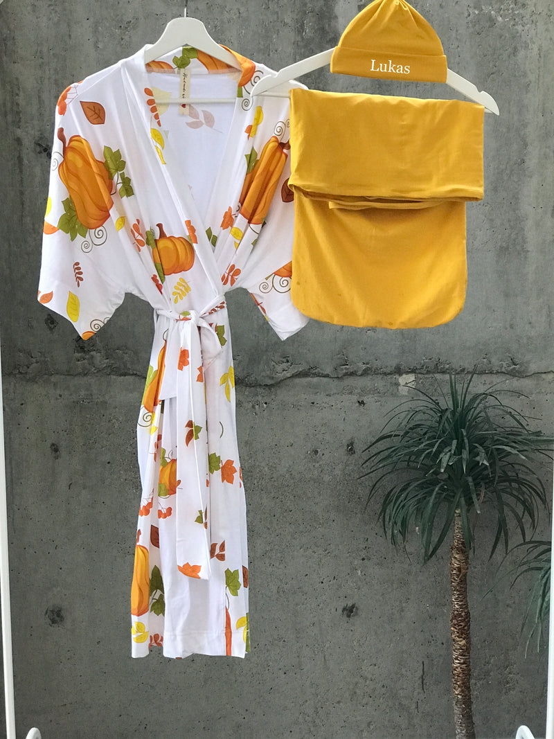 Pumkin Maternity robe and swaddle set boy. Mommy and me robe and swaddle set boy. In organic stretch cotton. Matching t-shirts available. - comfymommyshop.in