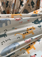 Cute animals printed Maternity robe and swaddle set boy. Mommy and me robe and swaddle set boy. In organic stretch cotton. Matching t-shirts available. - comfymommyshop.in