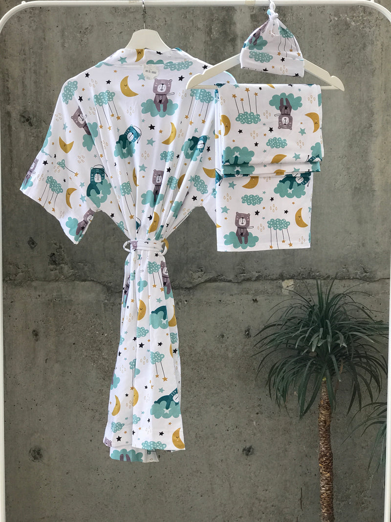 Maternity robe and swaddle set boy. Mommy and me robe and swaddle set boy. In organic stretch cotton. Sleepy Bear Matching t-shirts available. - comfymommyshop.in