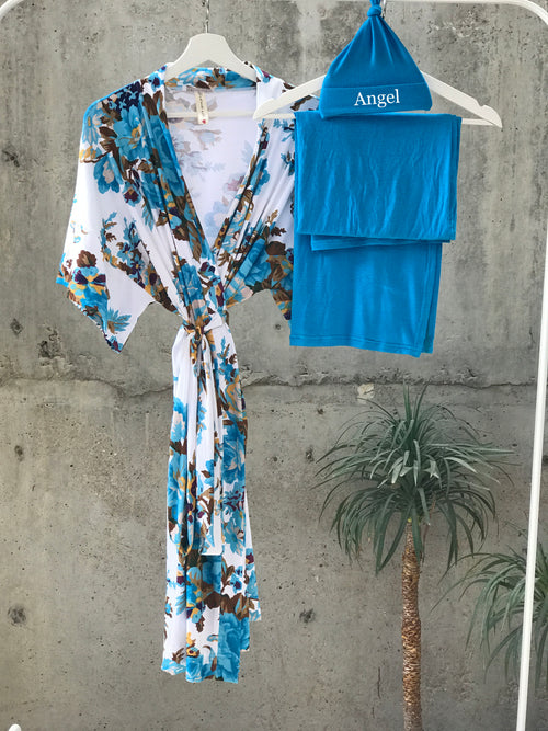 Cobalt Blue Floral Maternity robe and swaddle set boy. Mommy and me robe and swaddle set boy. In organic stretch cotton. Matching t-shirts available. - comfymommyshop.in