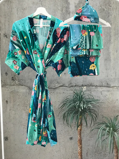 Big Cactus Maternity robe and swaddle set boy. Mommy and me robe and swaddle set boy. In organic stretch cotton. Matching t-shirts available. - comfymommyshop.in