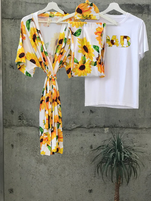 Sun Flower print Maternity robe and swaddle set boy. Mommy and me robe and swaddle set boy. In organic stretch cotton. Matching t-shirts available. - comfymommyshop.in