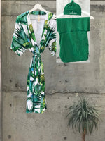 Tropical Pineapple Green Maternity robe and swaddle set boy. Mommy and me robe and swaddle set boy. In organic stretch cotton. Matching t-shirts available. - comfymommyshop.in