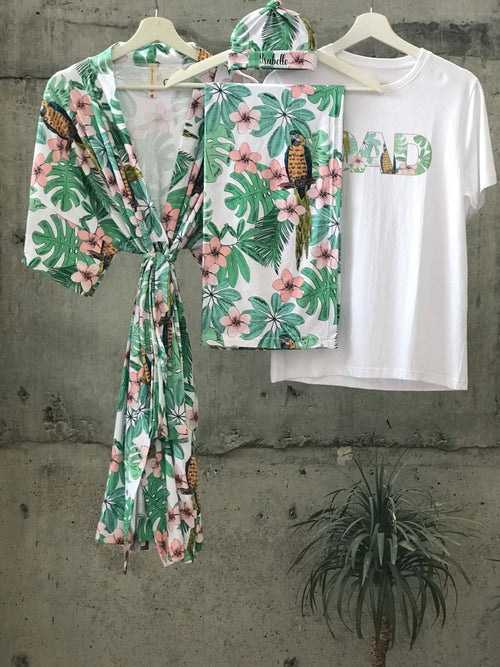 Tropical Maternity robe and swaddle set boy. Mommy and me robe and swaddle set boy. In organic stretch cotton. Matching t-shirts available. - comfymommyshop.in