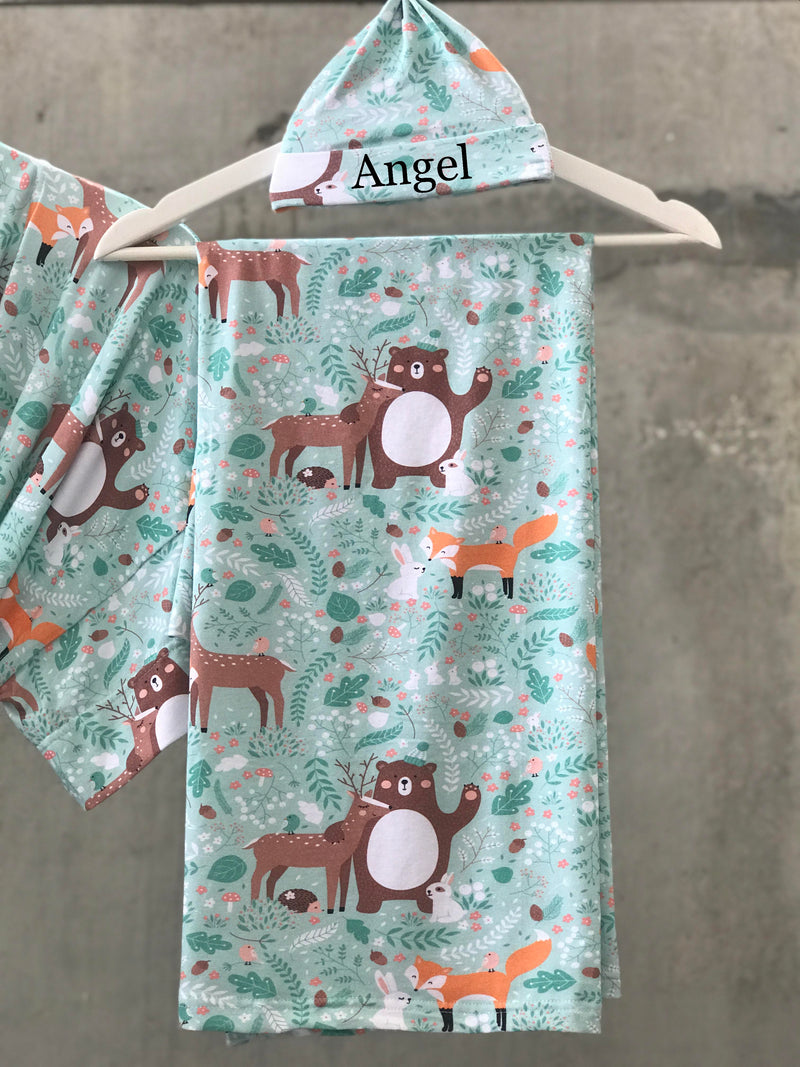 Forest animal print Maternity robe and swaddle set boy. Mommy and me robe and swaddle set boy. In organic stretch cotton. Matching t-shirts available. - comfymommyshop.in