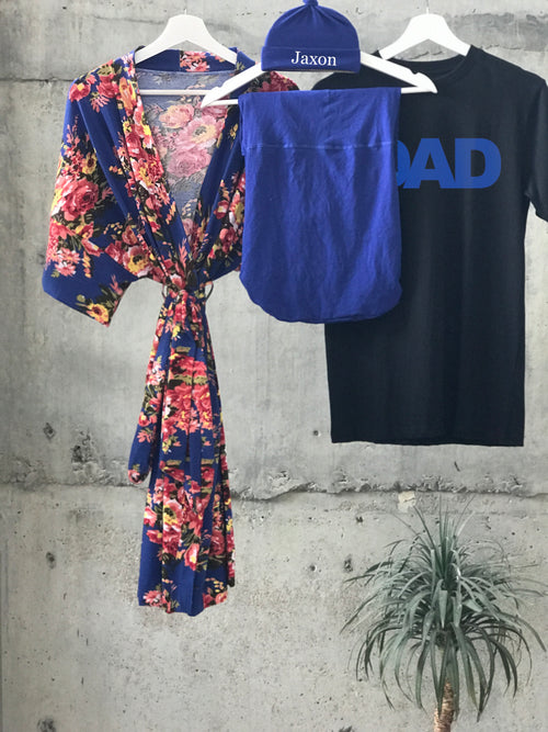 Royal Blue Floral Maternity robe and swaddle set boy. Mommy and me robe and swaddle set boy. In organic stretch cotton. Matching t-shirts available. - comfymommyshop.in