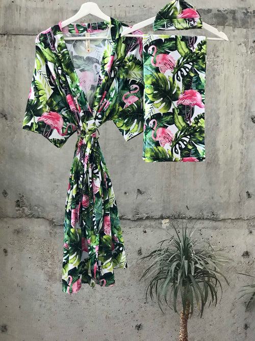 Tropical flamingoes Maternity robe and swaddle set boy. Mommy and me robe and swaddle set boy. In organic stretch cotton. Matching t-shirts available. - comfymommyshop.in