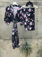 Lily Floral navy Maternity robe and swaddle set boy. Mommy and me robe and swaddle set boy. In organic stretch cotton. Hos Matching t-shirts available. - comfymommyshop.in