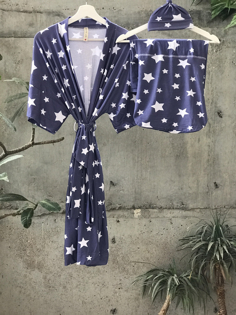 Galaxy Maternity set in Stars on Gray Organic Stretch Cotton. Includes a Mom Robe, swaddle, hat and matching Dad, elder sibling t-shirt. - comfymommyshop.in