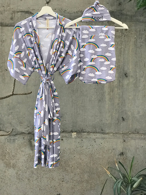 Maternity robe and swaddle set boy. Mommy and me robe and swaddle set boy. In organic stretch cotton. Rainbow Matching t-shirts available. - comfymommyshop.in