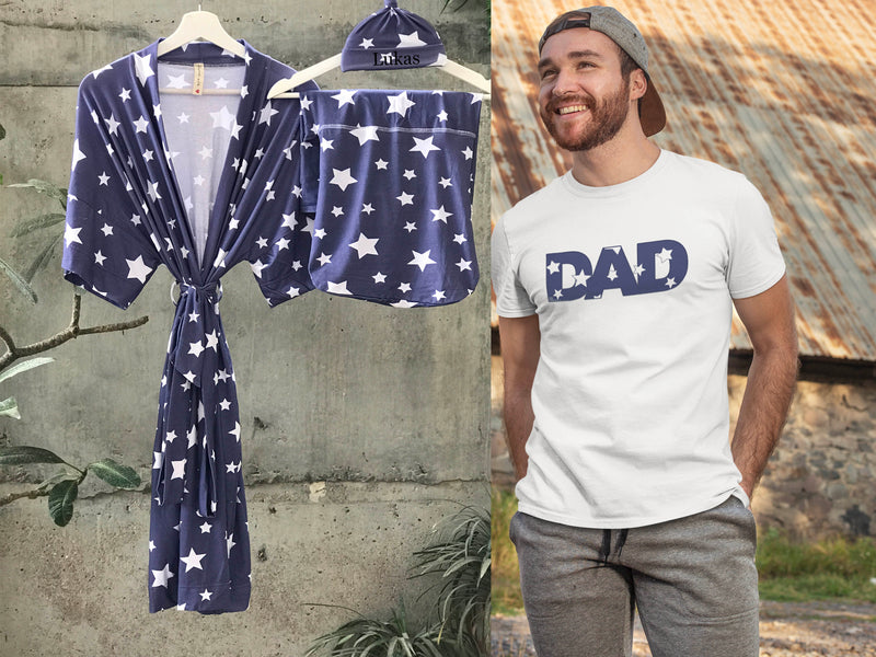 Maternity robe and swaddle set boy. Mommy and me robe and swaddle set boy. In organic stretch cotton. Sog Matching t-shirts available. - comfymommyshop.in