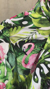 Tropical flamingoes Maternity robe and swaddle set boy. Mommy and me robe and swaddle set boy. In organic stretch cotton. Matching t-shirts available.