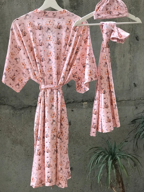 Rose Gold Bear Fox  Maternity robe and swaddle set boy. Mommy and me robe and swaddle set boy. In organic stretch cotton. Matching t-shirts available. - comfymommyshop.in