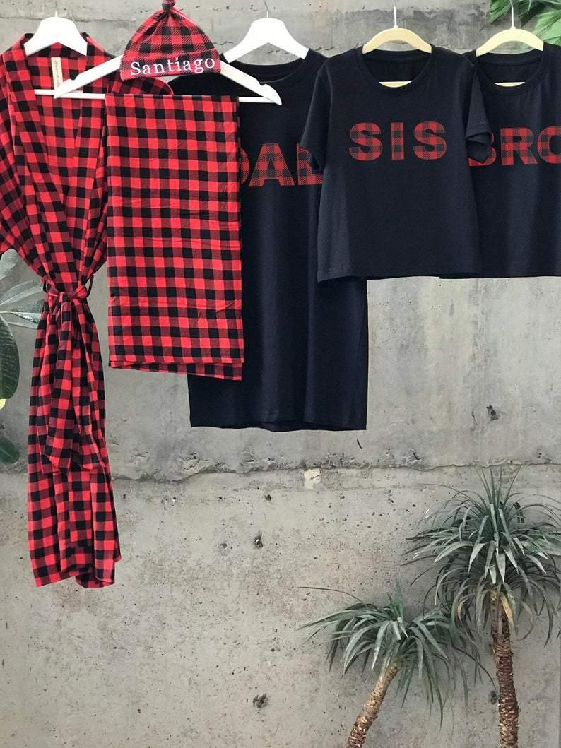 Red and Black Plaid T Shirts - comfymommyshop.in