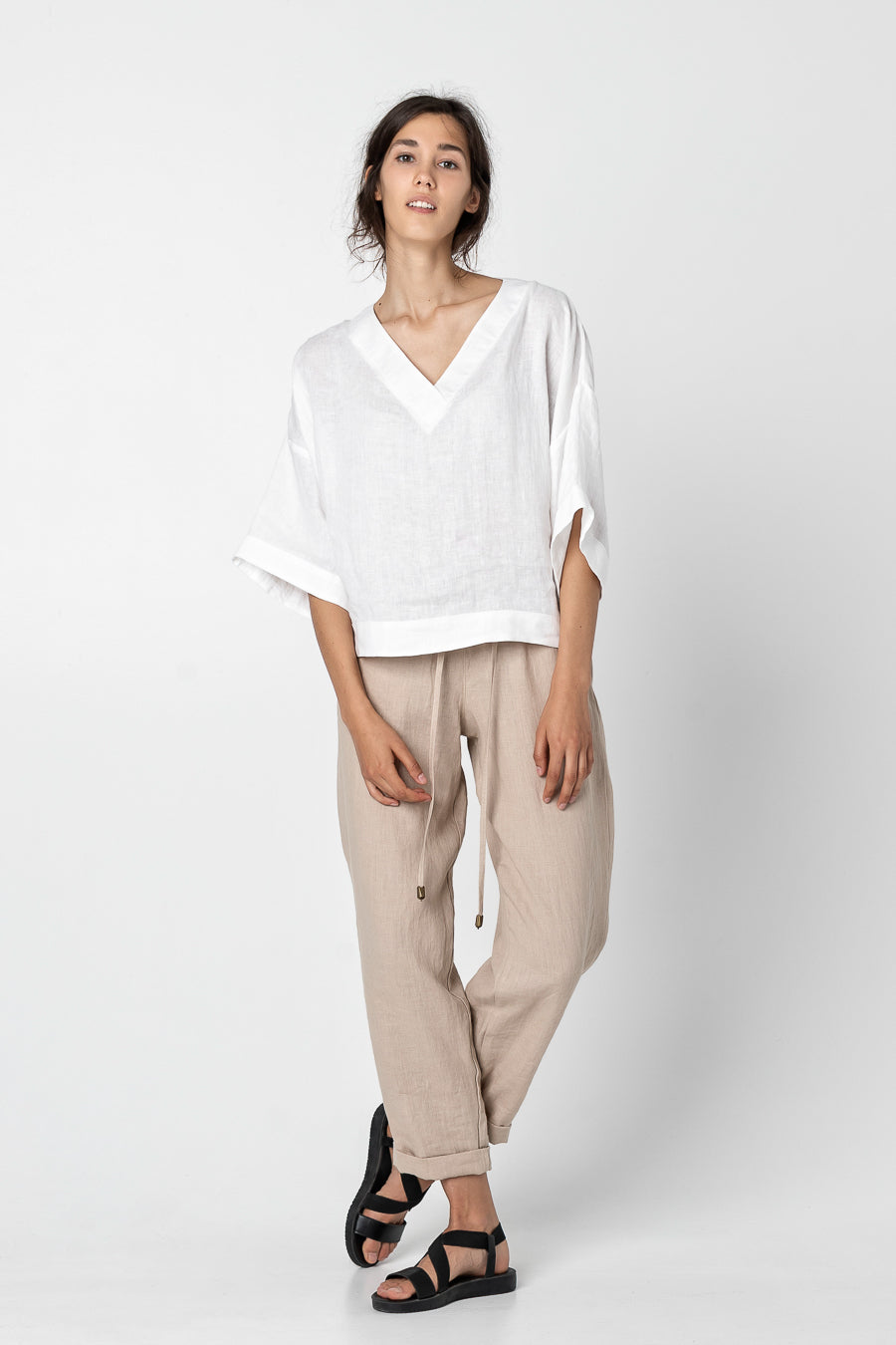 SELLI | Elbow sleeve linen blouse